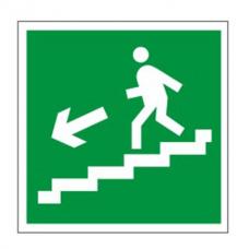 """Знак Е14""""Направление к эвакуац.выходу по лестнице в низ(лев)"""" 200х200мм пленка фотолюминесцентная"""